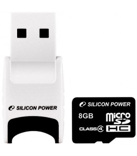 Silicon Power memory card microSDHC 8GB Class 4 + USB reader